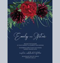 Elegant floral watercolor style wedding invite vector
