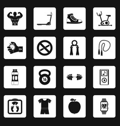 Fitness icons set squares vector