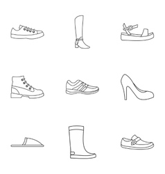 Footgear icons set outline style vector