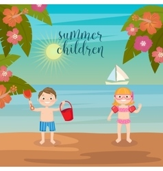 girls and boys playing on beach vector image