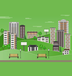 Green city landscape with high-rise apartment vector