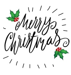 Greeting card with a holly berries and Merry vector image