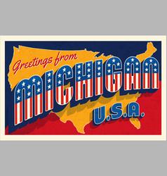 greetings from michigan retro postcard vector image