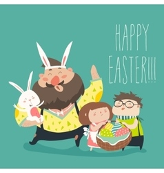 Happy father with kids celebrating Easter vector