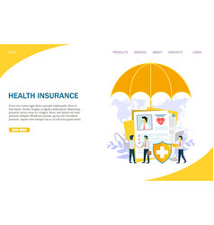 Health insurance website landing page vector