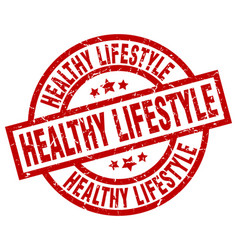 Healthy lifestyle round red grunge stamp vector