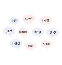 hello word clouds in different languages the vector image