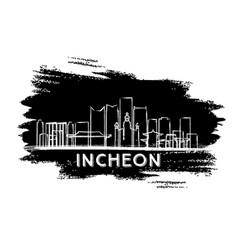 incheon south korea skyline silhouette hand drawn vector image