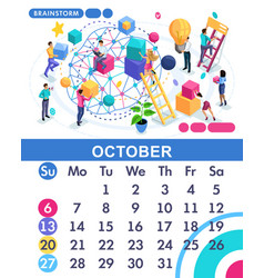 isometric business calendar of 2019 vector image