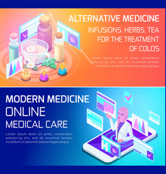 isometry concept types of medical services banners vector image