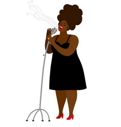 Jazz singer woman with microphone isolated vector