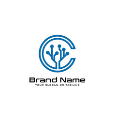 Letter c and tree tech logo design vector