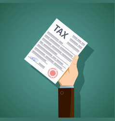Man holds in his hand the form of tax reporting vector