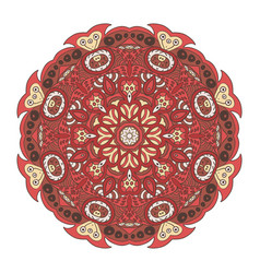 Mandala doodle drawing round ornament cream and vector
