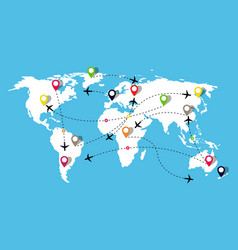 map with airplanes flight travel in world vector image