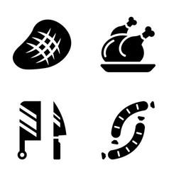 Meat glyph icons bundle vector