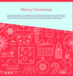 Merry christmas banner template in line style vector