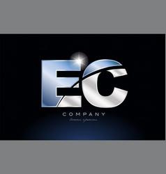 Metal blue alphabet letter ec e c logo company vector