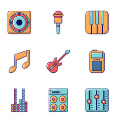 Music icons set flat style vector