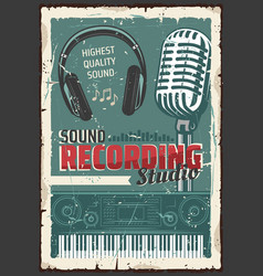 Music record studio microphone sound vector