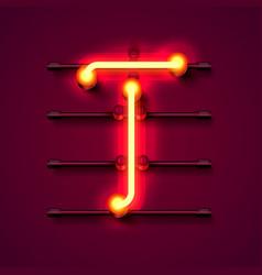 Neon font letter t art design signboard vector