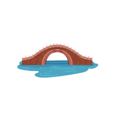 Old brick bridge over blue river arch footbridge vector