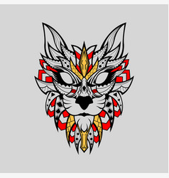 patterned head wild cat indian style red white vector image