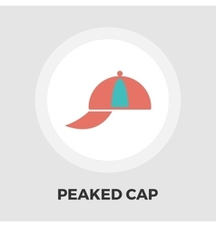 Peaked cap icon flat vector image