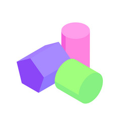 Pentagonal prism and two cylinders colorful poster vector