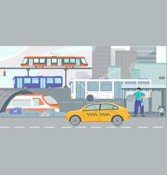 public transport city flat vector image