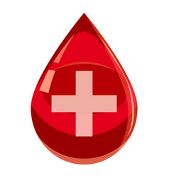 Red drop of blood with cross icon cartoon style vector