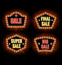 Retro sale lightbulb signs vector