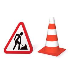 road sign road repair vector image