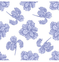seamless pattern with hand drawn pastel iris vector image