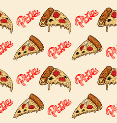 seamless pattern with pizza design element vector image