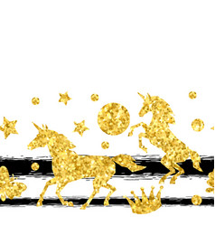 seamless pattern with unicorns and gold glitter vector image