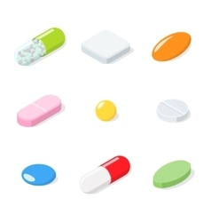 Set of different medical pills tablets capsules vector
