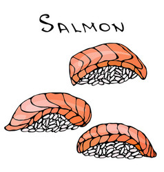 Set of salmon sushi for seafood menu vector