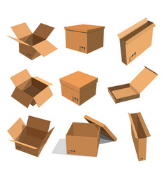 set paper yellow boxes for packing goods on a vector image