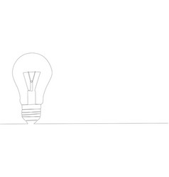 single continuous one line drawing light bulb vector image