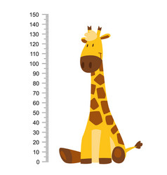 sitting cheerful funny giraffe with long neck vector image