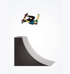 skateboarder high jumping graphic vector image