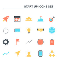 startup and business icons set design vector image