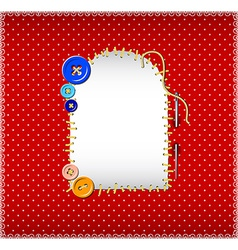 Stitched patch on polka dot fabric vector