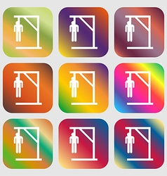 Suicide concept icon Nine buttons with bright vector