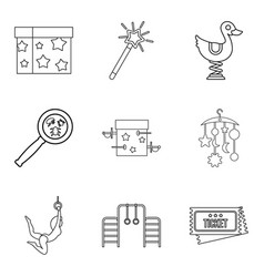 Supervision of the child icons set outline style vector