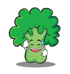 Sweat smile broccoli chracter cartoon style vector