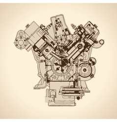 Vintage engine old picture vector image