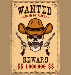 Wanted poster template cowboy skull with crossed vector