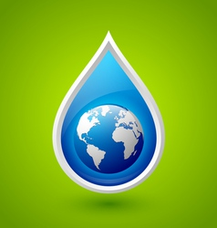 Water drop and planet Earth icon vector image